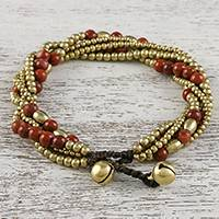 Jasper beaded torsade bracelet, 'Elegant Celebration' - Jasper and Brass Adjustable Beaded Bracelet from Thailand