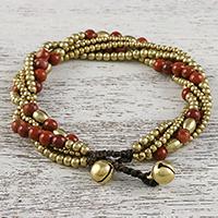 Jasper beaded torsade bracelet, 'Elegant Celebration' - Jasper and Brass Adjustable Beaded Bracelet from Thailand