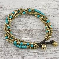 Brass and calcite beaded torsade bracelet, 'Elegant Celebration' - Calcite and Brass Adjustable Beaded Bracelet from Thailand