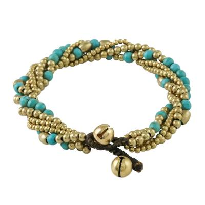 Calcite and Brass Adjustable Beaded Bracelet from Thailand