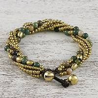 Agate beaded torsade bracelet, 'Elegant Celebration' - Agate and Brass Adjustable Beaded Bracelet from Thailand