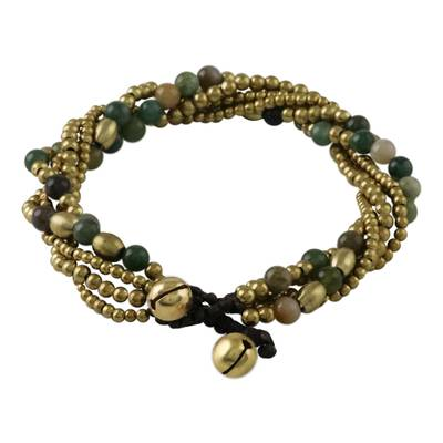 Agate and Brass Adjustable Beaded Bracelet from Thailand