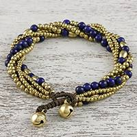 Lapis lazuli beaded torsade bracelet, 'Elegant Celebration' - Lapis Lazuli Adjustable Beaded Bracelet from Thailand