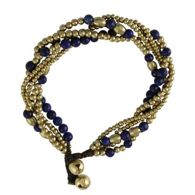 Lapis lazuli beaded torsade bracelet, 'Elegant Celebration' - Lapis Lazuli Adjustable Beaded Bracelet from Thailand