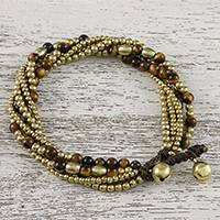 Tiger's eye beaded torsade bracelet, 'Elegant Celebration'
