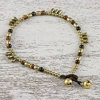 Tiger's eye beaded anklet, 'Musical Wanderer'