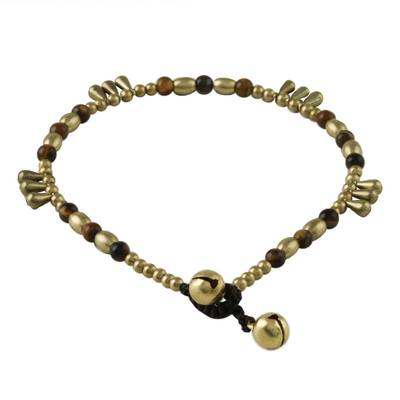 Tiger's eye beaded anklet, 'Musical Wanderer' - Tiger's Eye and Brass Beaded Anklet from Thailand