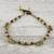 Tiger's eye beaded anklet, 'Musical Wanderer' - Tiger's Eye and Brass Beaded Anklet from Thailand (image 2b) thumbail