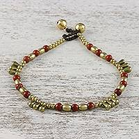 Japser beaded anklet, 'Musical Wanderer' - Jasper and Brass Beaded Anklet from Thailand