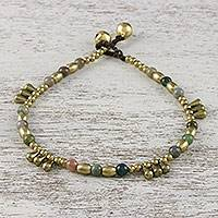 Agate beaded anklet, 'Musical Wanderer' - Agate and Brass Beaded Anklet from Thailand
