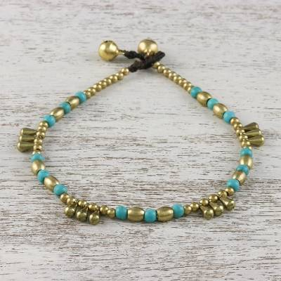 Calcite beaded anklet, 'Musical Wanderer' - Calcite and Brass Beaded Anklet from Thailand