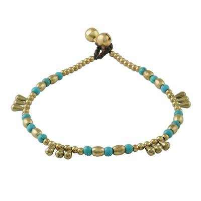 Calcite and Brass Beaded Anklet from Thailand