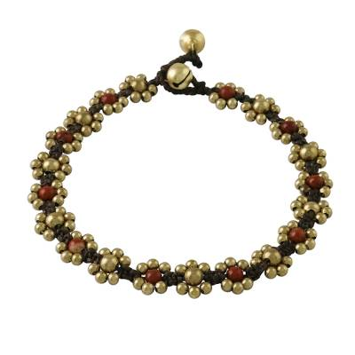 Jasper Adjustable Beaded Anklet from Thailand
