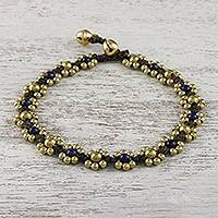 Lapis lazuli beaded anklet, 'Musical Dream' - Lapis Lazuli Adjustable Beaded Anklet from Thailand