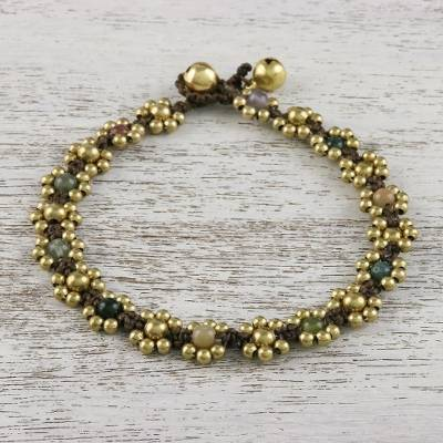 Agate beaded anklet, 'Musical Dream' - Agate Adjustable Beaded Anklet from Thailand