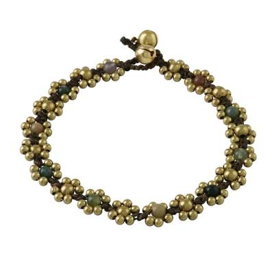 Agate Adjustable Beaded Anklet from Thailand