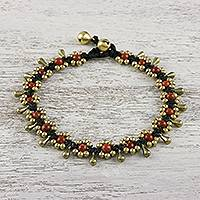 Jasper beaded anklet, 'Elegant Rain' - Jasper Beaded Anklet with Bells from Thailand