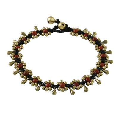 Jasper Beaded Anklet with Bells from Thailand