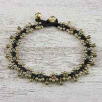 Agate beaded anklet, 'Elegant Rain' - Agate Beaded Anklet with Bells from Thailand