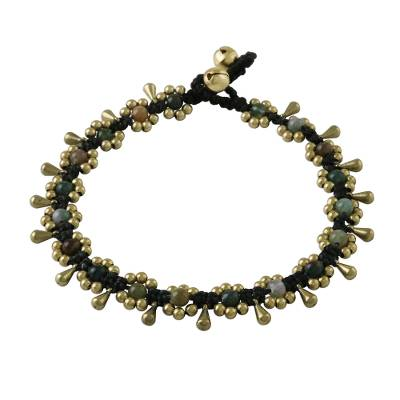 Agate Beaded Anklet with Bells from Thailand