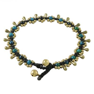 Serpentine Beaded Anklet with Bells from Thailand