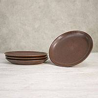 Ceramic dinner plates, 'Simple Meal' (set of 4) - Ceramic Dinner Plates in Brown from Thailand (Set of 4)