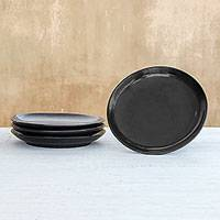 Ceramic salad plates, 'Subtle Flavor' (set of 4) - Black Ceramic Salad Plates from Thailand (Set of 4)