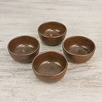 Ceramic dessert bowls, 'Simple Meal' (set of 4) - Ceramic Dessert Bowls in Brown from Thailand (Set of 4)
