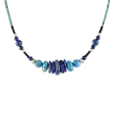 Lapis lazuli and apatite beaded necklace, 'Water Lover' - Lapis Lazuli and Apatite Beaded Necklace from Thailand