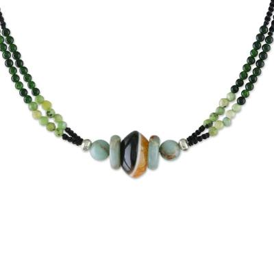 Multi-gemstone beaded pendant necklace, 'Elegant Cosmos' - Multi-Gemstone Beaded Pendant Necklace from Thailand