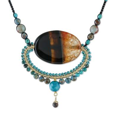 Multi-gemstone statement necklace, 'Cosmic Paradise' - Multi-Gemstone Statement Necklace from Thailand