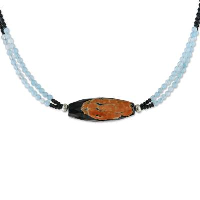 Agate and quartz beaded pendant necklace, 'Summer Flame' - Agate and Quartz Beaded Pendant Necklace from Thailand