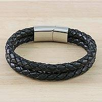 Men's leather wristband bracelet, 'Strong Friends in Black' - Men's Leather Wristband Bracelet in Black from Thailand