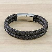 Men's leather wristband bracelet, 'Strong Friends in Brown' - Men's Leather Wristband Bracelet in Brown from Thailand