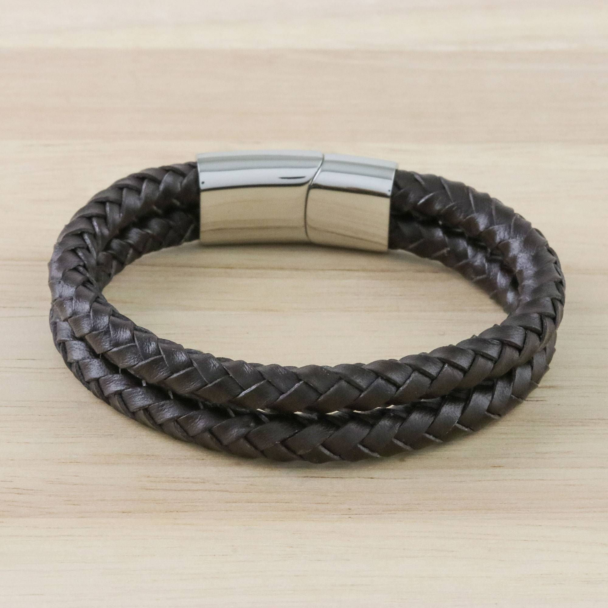 Men S Leather Wristband Bracelet In Brown From Thailand Strong Friends