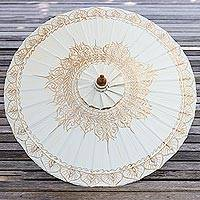 Saa paper parasol, 'Motifs on White' - Saa Paper Parasol in White with Gold Accents from Thailand