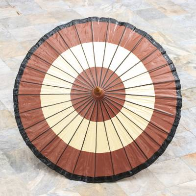Saa paper parasol, 'Brown Target' - Handmade Saa Paper Parasol in Brown from Thailand