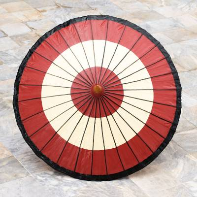 Saa paper parasol, 'Red Target' - Handmade Saa Paper Parasol in Red from Thailand