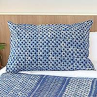 Batik cotton pillow sham, 'Indigo Lattice' - Square Motif Batik Cotton Pillow Sham from Thailand