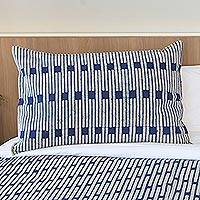 Batik cotton pillow sham, 'Sophisticated Indigo' - Striped Batik Cotton Pillow Shame in White and Indigo