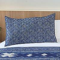 Batik cotton pillow sham, 'Exotic Geometry' - Geometric Batik Cotton Pillow Sham in Indigo from Thailand