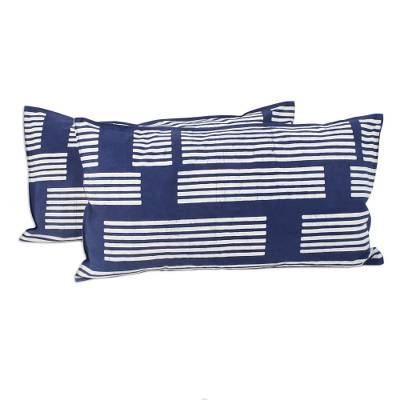 Batik cotton pillow shams, 'Bamboo Lattice' (pair) - Striped Batik Cotton Pillow Shams from Thailand (Pair)