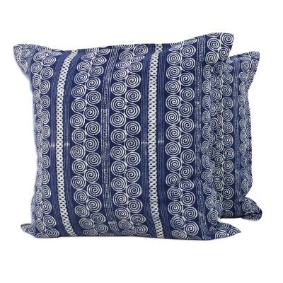 Batik cotton cushion covers, 'Indigo Cloud' (pair) - Batik Cotton Cushion Covers with Spiral Motifs (Pair)