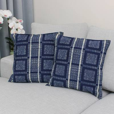 Batik cotton cushion covers, 'Indigo Passion' (pair) - Batik Cotton Cushion Covers in Indigo from Thailand (Pair)