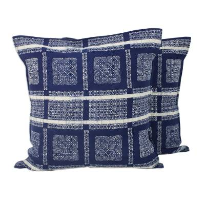 Batik Cotton Cushion Covers in Indigo from Thailand (Pair)