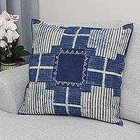 Batik cotton cushion cover, 'Exotic Energy' - Batik Cotton Cushion Cover in Indigo from Thailand