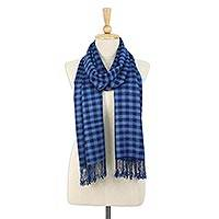 Tie-dyed rayon and cotton blend scarf, 'Blue Chess' - Square Motif Tie-Dyed Rayon and Cotton Blend Scarf in Blue