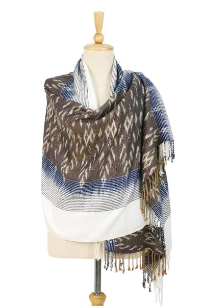 Tie-dyed rayon and cotton blend shawl, Charming Mudmee