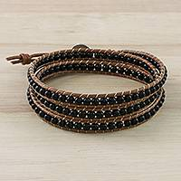 Onyx beaded wrap bracelet, 'Calm Touch'