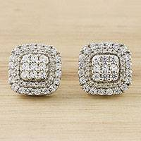 Sterling silver stud earrings, 'Thai Brilliance' - Sparkling Sterling Silver Stud Earrings from Thailand